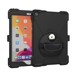 Coque de Protection Renforcée Compatible iPad 10.2 - avec Dragonne - The Joy Factory - Norme IP64 - Noir - CWA632MP